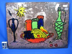 Beautiful 70´s design Silberdistel pottery  wall plaque / Keramik Wandbild
