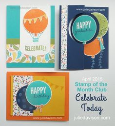 Stampin' Up! Celebrate Today Card Kit -- 2015 Occasions Catalog www.juliedavison.com #stampinup