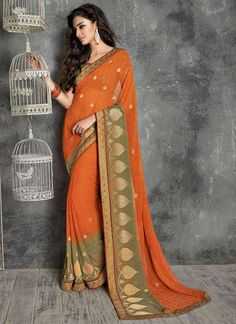 Burnt Orange Chiffon Saree