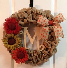 Fall burlap wreath by SouthernMamaWreaths on Etsy, $65.00