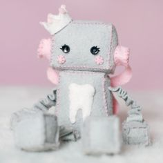 Felt Robot Plush Tooth Fairy. $30.00, by GinnyPenny