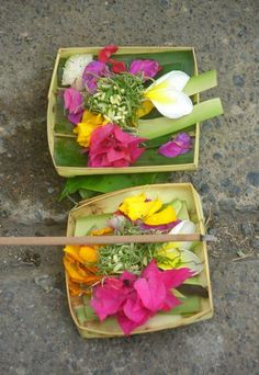 you'll see these beautiful Balinese Offering Baskets absolutely everywhere