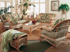 Sea Scape Sunroom Living Room Set And Individual Pieces By E Island Wicker Indoor Furnituresunroom