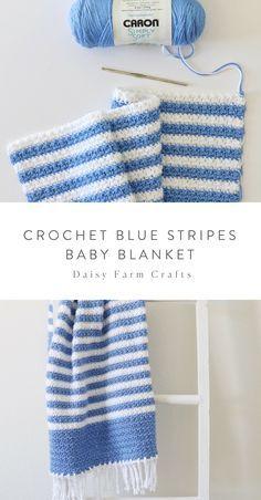 Free Pattern - Crochet Blue Stripes Baby Blanket Informations About Daisy Farm Crafts Pin You can ea Free Baby Blanket Patterns, Afghan Crochet Patterns, Baby Blanket Crochet, Knitting Patterns, Blue Baby Blanket, Crochet Blankets, Crochet Gratis, Free Crochet, Kids Crochet