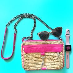"""Rebecca Minkoff Mini Mac Straw Pink ❌NO TRADES❌. - Auth Rebecca Minkoff Mini Mac Straw w/ Hot Pink leather trim, silver hardwear. - 9"""" long, 6"""" height, 1.5"""" depth, 22"""" shoulder strap. - Good used Condition. - Wear/ discoloration on straw, Cracked handle/by zipper. Knicks/ marks in leather. Some wear on silver hardware. Rebecca Minkoff Bags Crossbody Bags"""
