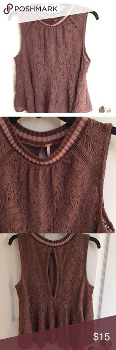 Free people lace tank sweater with keyhole back Free people lace tank sweater with keyhole back.  Great with jeans or tights.  Excellent condition. Free People Sweaters