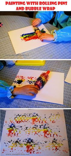 Mess For Less: Painting with Rolling Pins and Bubble Wrap #homeschool, #art activity #preschool art activity