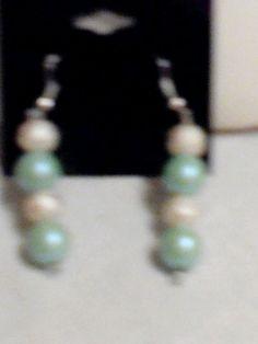 Women's handmade jewelry Set- light blue, ivory ,yellow gold bracelets, earrings #Handmade