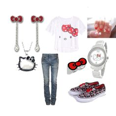 For the kid in me!!!!  *Hello Kitty obsession, created by syd-nichole33 on Polyvore