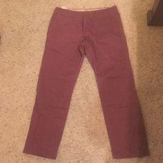 Men's Lived-In dress/ casual wear Flat front, flat back pocket, MAROON, SLIM FIT GAP Pants