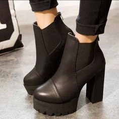 Women Motorcycle Boots Black High Heels Boots Lacing Platform Ankle Boots  Chunky Plus Size Female Footwear 560694225f2aa