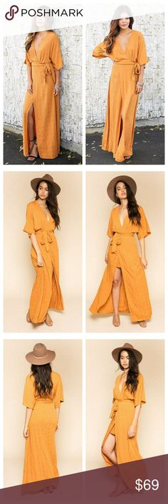 ️ boho golden mustard maxi wrap dress New boho wrap maxi dress in a golden mustard yellow orange color. V-neck, tie waist, loose short sleeves.  100% Rayon  This item will be shipped to you within 5 business days  Tags: summer spring vacation resort resortwear cruise Dresses Maxi
