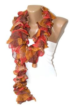 Hand Knit Rufffle scarfwomen accessorygifts ideafor by seno, $25.00