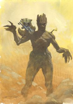 Anthony's Comic Book Art :: For Sale Artwork :: Rocket Raccoon and Groot from Guardians of the Galaxy Watercolor Piece to be used as a Print - 2014 Signedby artist Esad Ribic
