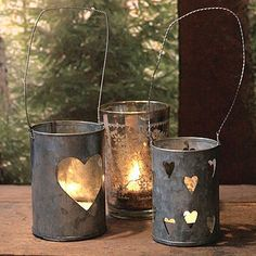 I'm going to  old jars and cans for flower pots and tea lights. I might add a twine or lace bow