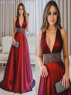 Deep V-Neck Long Prom Dresses Red Satin Evening Dresses A-Line Formal Classy Prom Dresses, Elegant Dresses, Beautiful Dresses, Formal Dresses, Party Dresses, Formal Prom, Marie, Evening Dresses, Fashion Dresses
