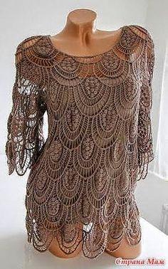 Blusa de Encaje a Crochet / Paso a paso | Crochet y Dos agujas - Patrones de tejido