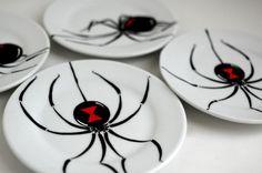 Black Widow Spider Plates  Set of 4 Hand by MaryElizabethArts