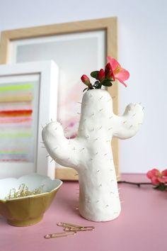 Clay cactus vase