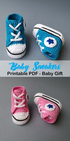 Make a Cute Pair of Baby Sneakers. baby shoes crochet patterns - baby booties - baby gift - crochet pattern pdf - amorecraftylife.com #crochet #crochetpattern #baby #babygift