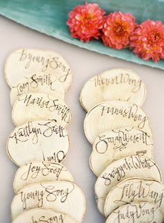 May be the best escort cards ~ ever! Wood-burned by the bride (http://www.JulieSongInk.com.) Can't imagine having that much talent! Photography by josevillaphoto.com
