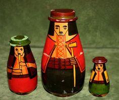RARE-1960s-Vtg-UKRAINIAN-MATRYOSHKA-5-3-pc-HUTSUL-UKRAINE-BUKOVINA-Wooden-Doll