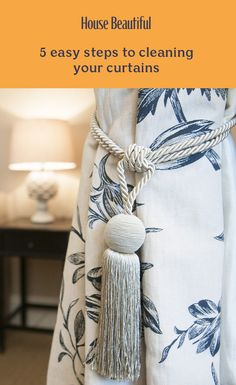 This is how to clean your curtains the easy way. Expert cleaning tips from Good Housekeeping. Marble Jar, Curtain Weights, African Giraffe, Dry Cleaning Services, Utensil Set, Linen Napkins, Fabric Paper, Bird Prints, Handmade Wooden