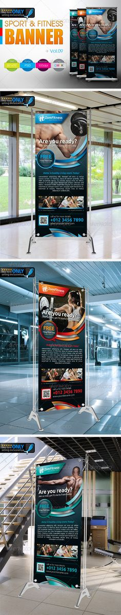 """Fitness Banner Vol.9 #GraphicRiver This Fitness & Sport Banner template suitable for any fitness & sport related businesses with easy edit to fit your needs. Fonts: Sansation Colour : CMYK Files : .psd Size : 30"""" x 70"""" / 100dpi bleeding : 0.5"""" images used are not included. help.txt included for fonts and images used details Logo : Not included, however you may purchase it here Kindly contact me if you need any help and I am happy to offer support. Would be highly appreciate if you may rate…"""