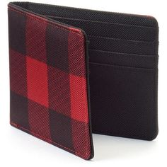 Urban Pipeline Buffalo Check Bifold ($24) ❤ liked on Polyvore featuring men's fashion, men's bags, men's wallets, red, bi fold mens wallet, mens red wallet and mens bifold wallets