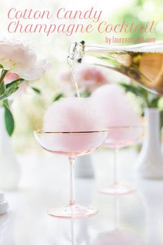 Cotton candy champagne cocktail for bridal shower, bachelorette party, or custom wedding cocktail - champagne wedding cocktails {Lauren Conrad} (bachelorette party drinks alcohol) Party Drinks, Cocktail Drinks, Cocktail Recipes, Alcoholic Drinks, Beverages, Pink Cocktails, Drink Recipes, Non Alcoholic Champagne, Cocktail Desserts