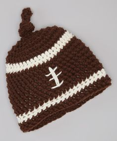 Look what I found on #zulily! Cupc4ke Brown Football Crocheted Single-Knot Beanie by Cupc4ke #zulilyfinds