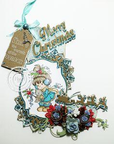 11.08.2014 MDF Christmas Stockin with #Dutch Doobadoo Christmas Label,# Noor! Design Weihnachtsschlitten,# Merry Christmas Textstanze von Noor! Design,#Sternstanze von Noor! Design,# Vintage Border Swirl