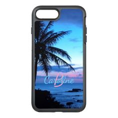 #modern - #Custom Island Beach Pink Turquoise Blue Sunset OtterBox Symmetry iPhone 7 Plus Case
