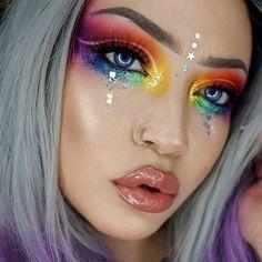 28 pretty rainbow makeup ideas - Hübsche Regenbogen-Make-up-Ideen – Modisch 28 pretty rainbow makeup ideas # Pretty makeup - Makeup Drawing, Makeup Art, Beauty Makeup, Makeup Ideas, Makeup Quiz, Exotic Makeup, Top Beauty, Makeup Hacks, Beauty Nails