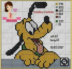 Pluto Disney, Cross Stitch Alphabet Patterns, Hama Beads Patterns, Crochet Diagram, Beaded Animals, Disney Crafts, Crafts To Do, Cross Stitching, Cartoon Characters