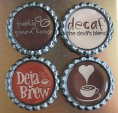 coffee I need to make these little magnets Coffee Talk, I Love Coffee, Coffee Break, Coffee Drinks, Coffee Cups, Coffee Coffee, Bottle Cap Magnets, Coffee Pictures, Coffee Culture