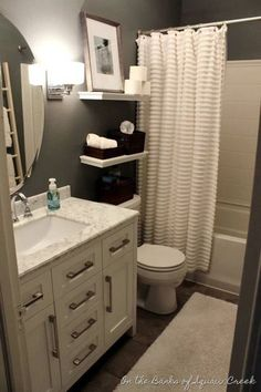 Apartment bathroom ideas apartment bathroom decor ideas small bathroom ideas for apartments small apartment bathroom ideas . Upstairs Bathrooms, Master Bathroom, White Bathroom, Grey Bathrooms, Basement Bathroom, Bathrooms Decor, Decorating Bathrooms, Apartments Decorating, Small Apartment Bathrooms