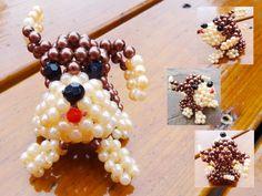 Beaded puppy dog 3D Beaded Animal Figurine sitter by JajaCreations, $9.99