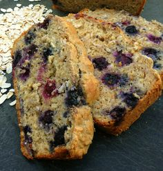 Yogurt is the secret to this moist and delicious Blueberry Oatmeal breakfast bread. Leftovers make a fantastic french toast! Blueberry Oatmeal Bread, Oatmeal Bread Recipe, Oatmeal Muffins, Oatmeal Recipes, Banana Bread, Breakfast Recipes, Dessert Recipes, Bon Dessert, Good Food