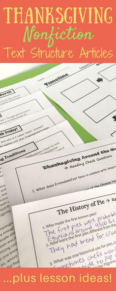 Looking for nonfiction reading passages that are Thanksgiving themed? This set of nonfiction articles, graphic organizers, and nonfiction text structure lesson plans will provide the perfect Thanksgiving activities to fill your holiday week with high-interest reading comprehension!