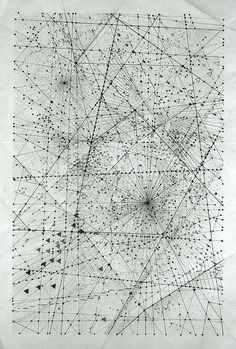 London based artist Emma Mcnally makes abstract graphite drawings that look like city grids and star maps.