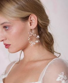 Dainty pair of earrings hand wired with tiny pearled flowers and freshwater pearls in a round vine design that capture all the essence of ethereal beauty. Romantic Bridal Hair, Hair Garland, Wedding Tiaras, Nickel Free Earrings, Fish Hook Earrings, Pearl Headband, Flowers In Hair, Bridal Accessories, Hair Pins
