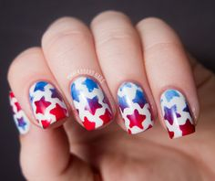 Instead of white stars, you can create an ombre of red and blue stars. All you have to do is find a stencil of stars and then create an ombre color using a sponge.
