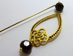 Antiqued Gold Floral Dangle Charm and Black Crystals Hijab pin, Scarf pin, shawl pin, Birthday Gift for her, Eid gift