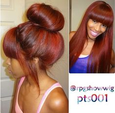 wig image on sale at reasonable prices, buy Red Full Lace Human Hair Wig With Bangs Silky Straight For Black Women Burgundy Brazilian Lace Front Wig With Baby Hair from mobile site on Aliexpress Now! Brazilian Lace Front Wigs, Brazilian Hair, V Hair, Hair Dos, Natural Hair Styles, Long Hair Styles, Wigs With Bangs, Jackson, Weave Hairstyles