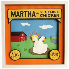 Martha, the 2-Headed Chicken - papercut and ink illustration by Tina Jett
