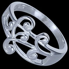 Silver ring, spirals Silver ring, Ag 925/1000 - sterling silver. Fine design of twisted symmetrically-ordered spirals.