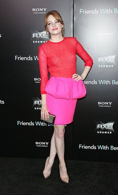Take a cue from Emma in this hot little Giambattista Valli, and try standout details like peplum and colorblocking for event wear.
