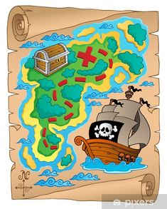 Pirates Stretched Canvas 10791 by Wall Art Prints Pirate Treasure Maps, Pirate Maps, Treasure Chest, Kids Room Wall Art, Kids Wall Decals, Pirate Quilt, Wall Art Prints, Canvas Prints, Framed Prints