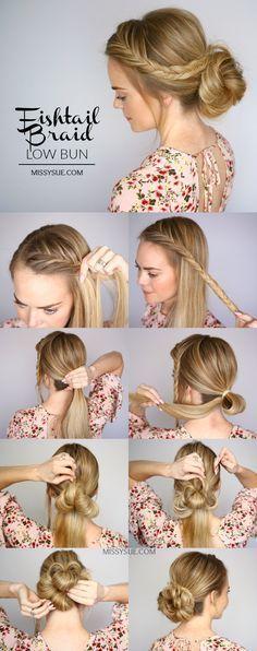 Fishtail Braid Low Bun Hair Tutorial – Bun Tutorial … - All For Bride Hair Style Party Hairstyles, Trendy Hairstyles, Braided Hairstyles, Wedding Hairstyles, Hairstyles 2018, Easy Hairstyle, Hairdos, Cute Bun Hairstyles, Heatless Hairstyles
